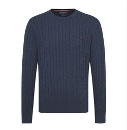 TOMMY HILFIGER - Cable-Knit Crew Neck Jumper Blå