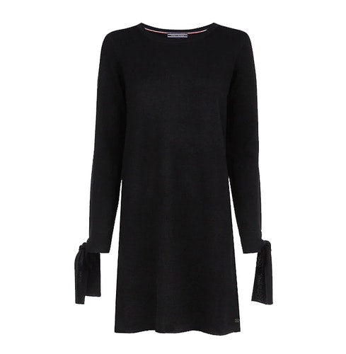 TOMMY HILFIGER - Tarisa Bow Sleeve Jumper Dress Svart