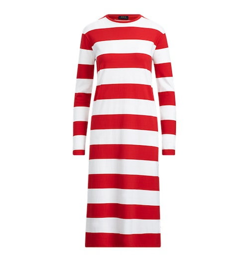 POLO RALPH LAUREN - Striped Midi LS Casual T-Shirt Dress Randig