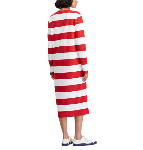 POLO RALPH LAUREN - Striped Midi LS Casual T-Shirt Dress Randig