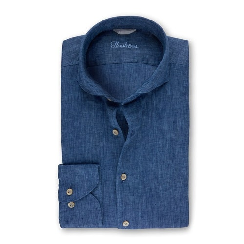 STENSTRÖMS - Denim Blue Linen Shirt Blå