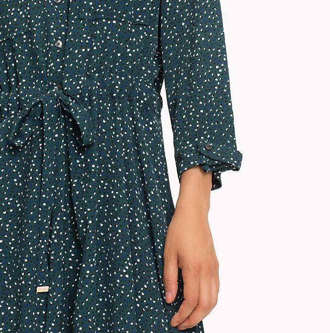 TOMMY HILFIGER - Lucia Three-Quarter Sleeve Dress Grön