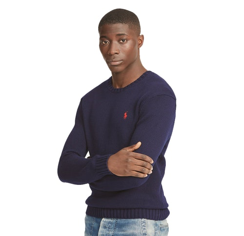 POLO RALPH LAUREN - Cotton Crewneck Jumper Blå