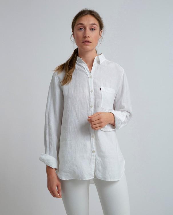 LEXINGTON - Isa Linen Shirt Vit