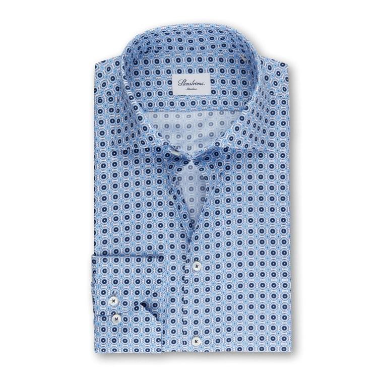 STENSTRÖMS - Slimline 90 Shirt With Pattern Blå