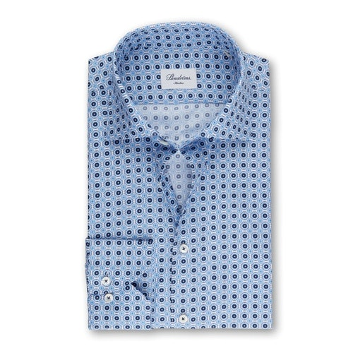 STENSTRÖMS - Slimline 90 Shirt With Pattern Blå