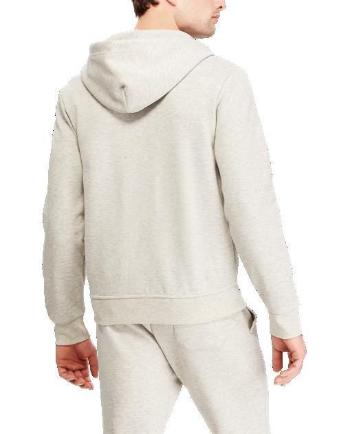 POLO RALPH LAUREN - Double-Knitted Full-Zip Hoodie Grå