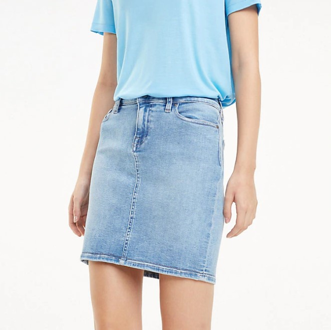 TOMMY HILFIGER - Slim Fit Denim Rome Skirt Blå