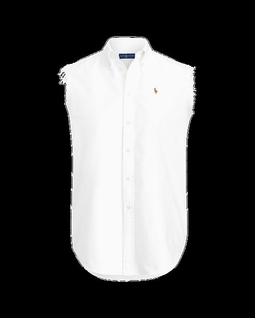 POLO RALPH LAUREN - Frayed Sleeveless Oxford Shirt Vit