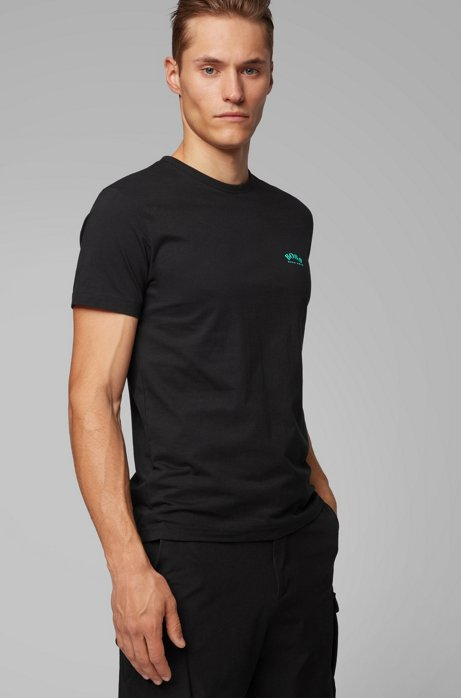 HUGO BOSS - Curved Logo Cotton Tee Svart