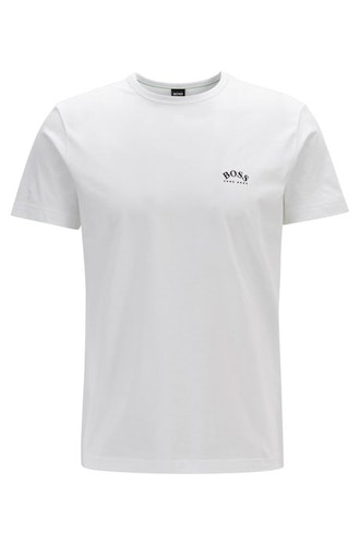 HUGO BOSS - Curved Logo Cotton Tee Vit