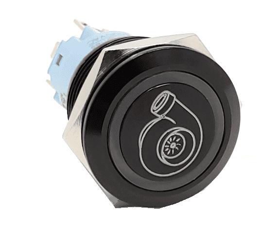 Billet knapp 22mm Svart med Symbol