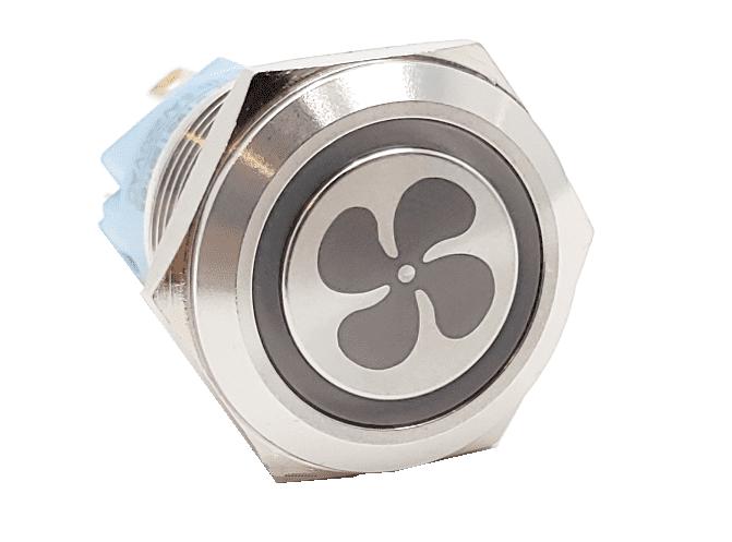 Billet knapp 22mm Silver med Symbol