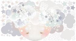 Sleepy Moon Wall Sticker – Blue