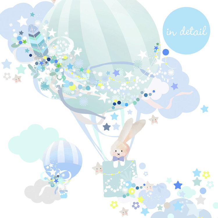 Hot Air Balloon Wall Sticker - Blue
