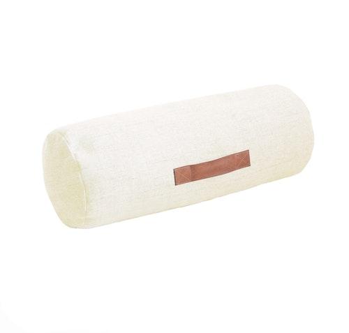 Cylinderkudde melange vit/beige