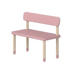 Bänk med ryggstöd rosa