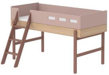 Halvhög säng rosa