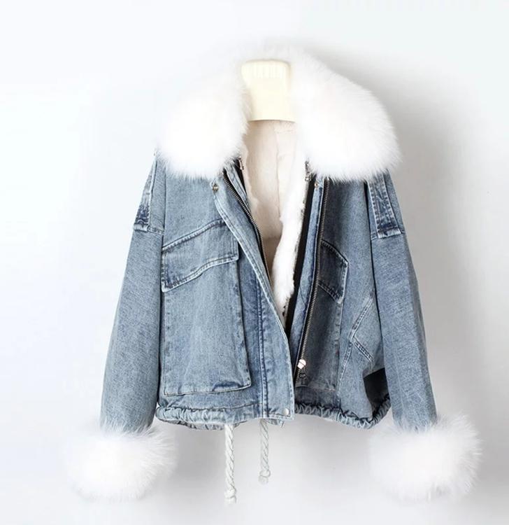Jeans jacka med fuskpäls