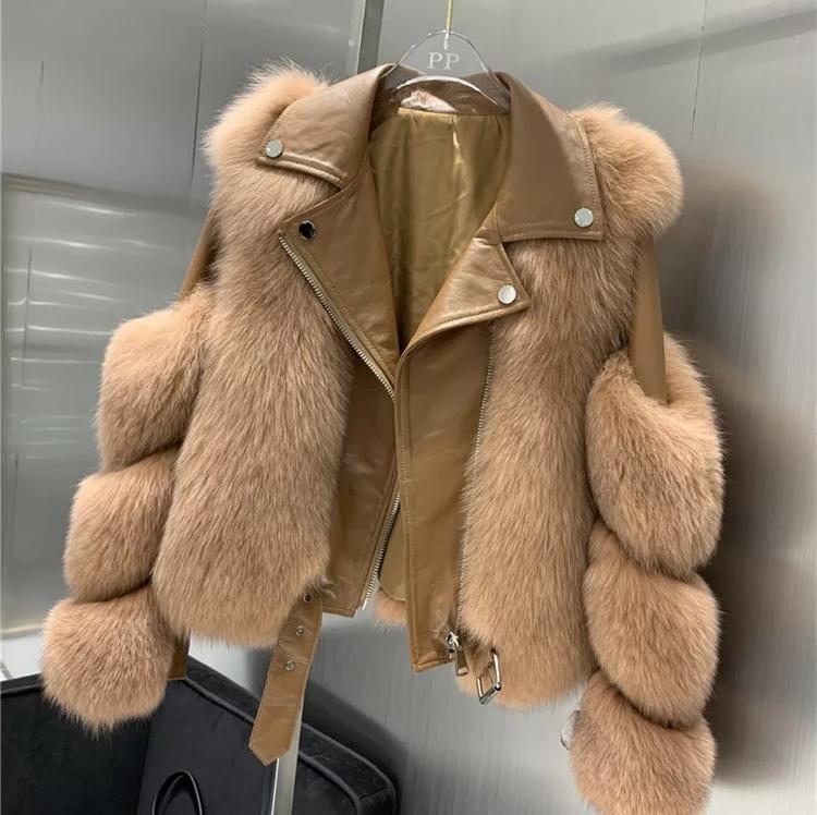 Moscow skinnjacka med äkta päls