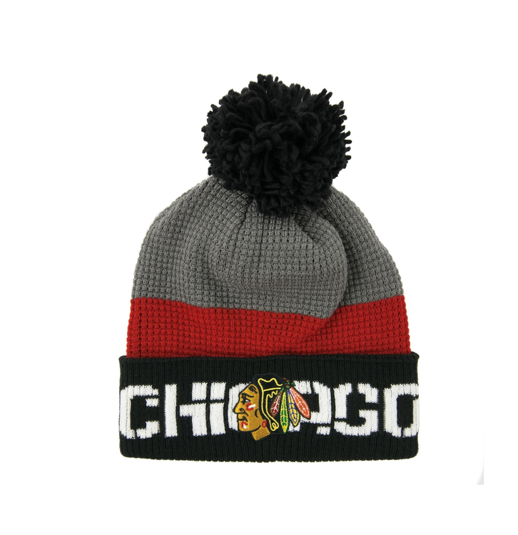 Chicago Blackhawks Reebok Black & Red Center Ice Cuffed Knit Pom Hat (Adult OSFA)