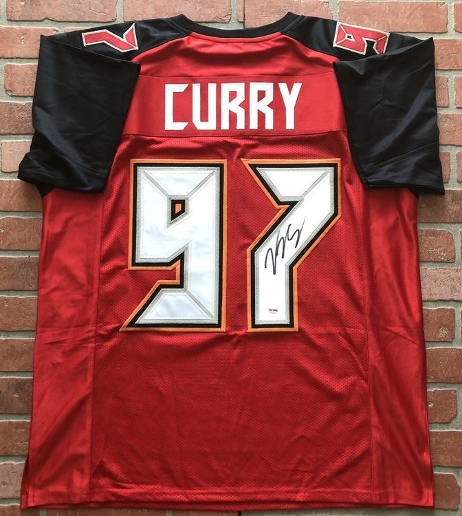 VINNY CURRY Signerad tröja NFL Tampa Bay Buccaneers PSA COA