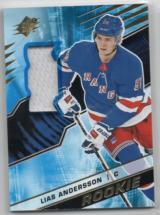 2018-19 SPx Rookies Materials #RLA Lias Andersson (40-CL3-RC-GAMEUSED-RANGERS)