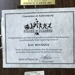 RAY BOURQUE AUTOGRAPHED 8X10 PHOTO PLAQUE.COA