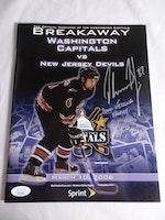 Olaf Kolzig Caps/Devils Game Program Autographed Hockey Magazine (2000 Vezina Trophy) JSA