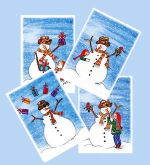 Julkort, snögubbar