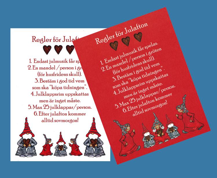 Julkort, Regler för julafton