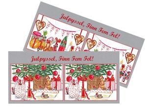 Julkort, Finn fem fel, 2 olika.