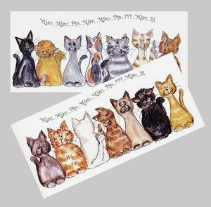 Avlånga kort med katter