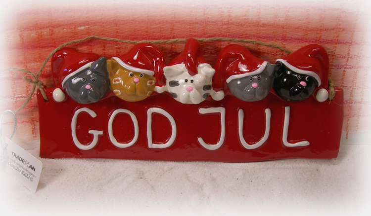 God Jul-skylt med katter