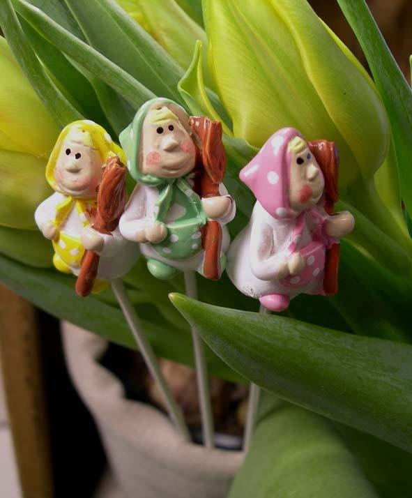 Blomsterstick, påskkärring 3-pack