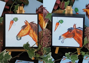 Tavla i trä med häst