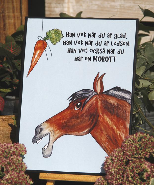 Tavla med häst och text