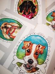 Kort med kuvert, Hundar