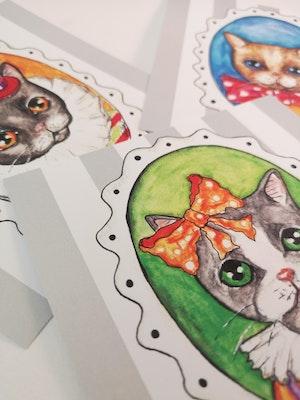 Kort med kuvert, Katter