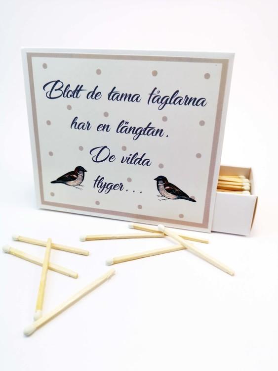 Tändsticksaskar med fåglar