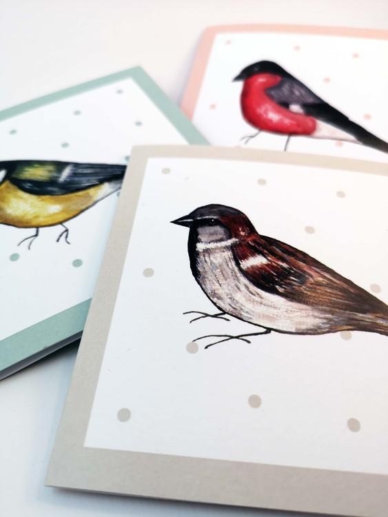 Dubbla kort med fåglar