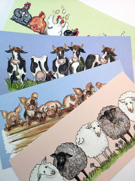 Avlånga kort med djur