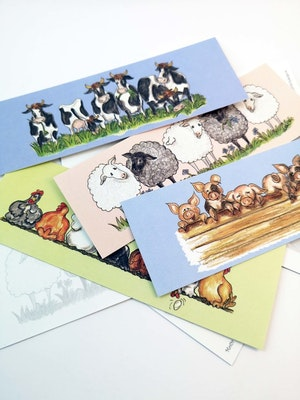 Små avlånga kort med djur