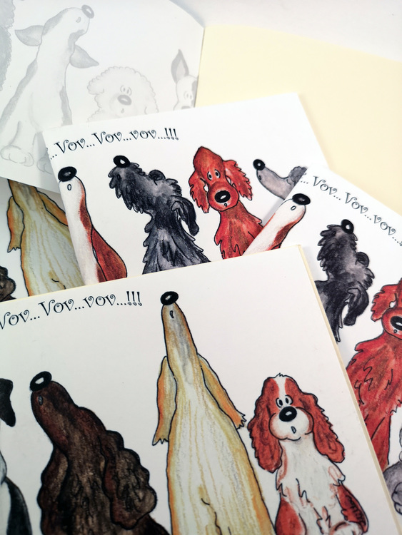 Liten rit/skrivbok med hundar