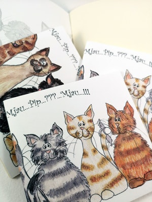 Liten rit/skrivbok med katter