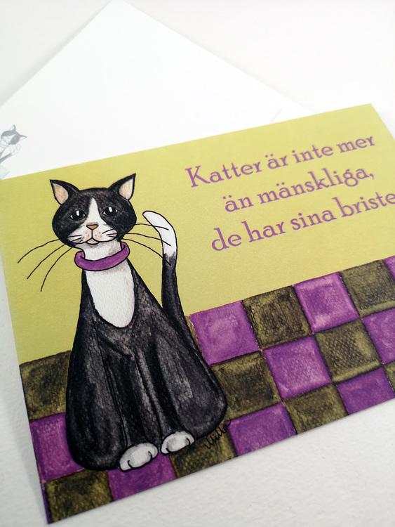 Kort med katt och citat