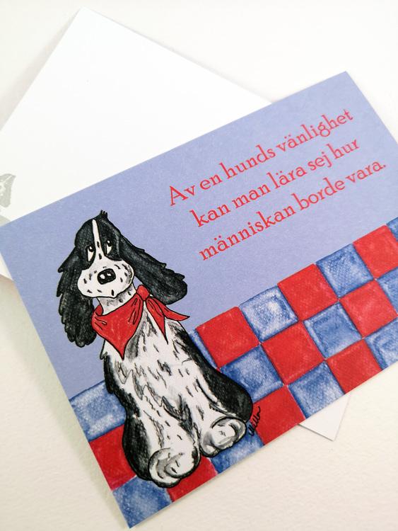 Kort med hund och citat