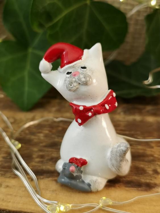 katt med mus i polystone