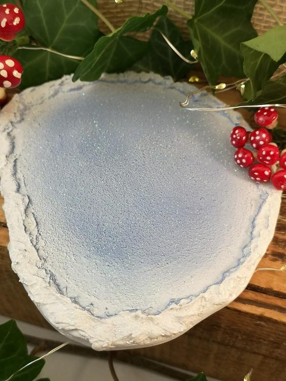 isblå glittrig platta för julpynt