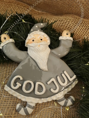 GOD JUL-skylt, grå tomte